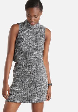Vero Moda Sasha Tweed Collar Top Blouses Black & White