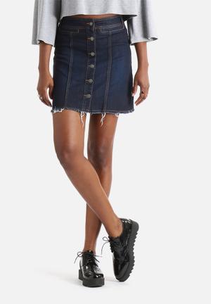 Vero Moda Merle A-Line Button Skirt Blue