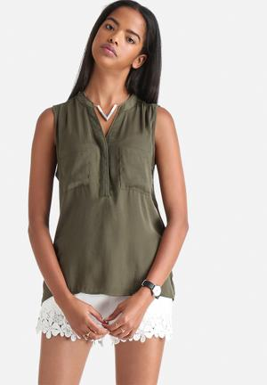 VILA Melli Pocket Top Blouses Khaki