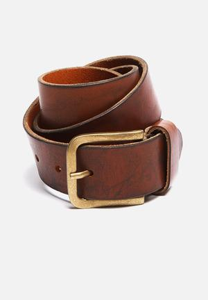 Selected Homme James Leather Belt Cognac