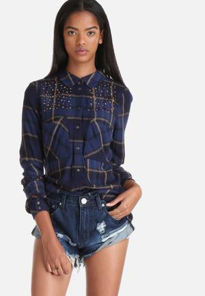 ONLY Edna Fico Check Stud Shirt Navy & Gold