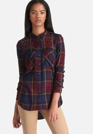 ONLY Edna Fico Check Stud Shirt Maroon & Navy
