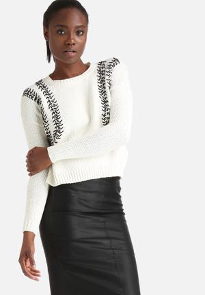 Y.A.S Dina Top Stitch Sweater Knitwear Cream