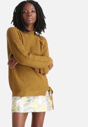Vero Moda Keiko Plaited Sweater Knitwear Olive Green