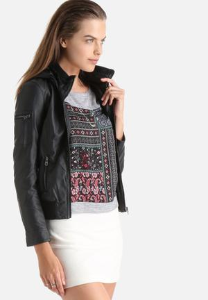 ONLY Fran Faux Leather Jacket Black