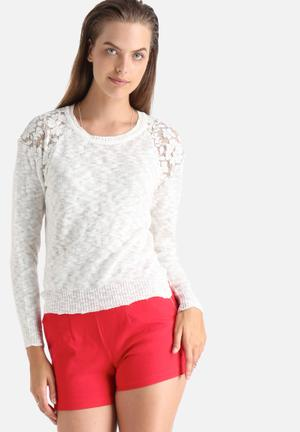 ONLY Primrose Lace Sweater Knitwear Cream