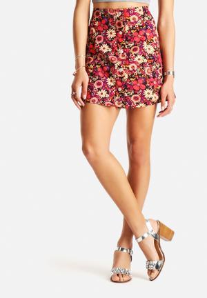Glamorous Cord Flower Skirt  Purple & Red