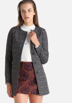 ONLY Nova Jacquard Coat Black & Grey
