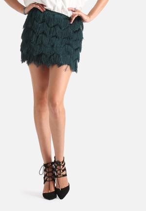 Vero Moda Party Fringe Skirt Emerald Green