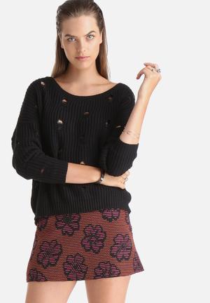 Noisy May Torn Knit Sweater Knitwear Black