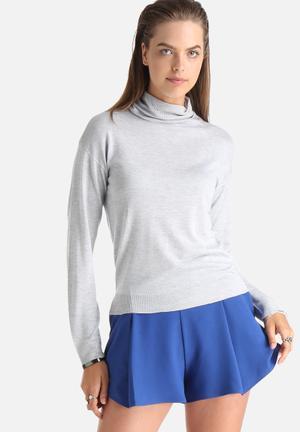 Noisy May Becca Polo Knit Sweater Knitwear Light Grey