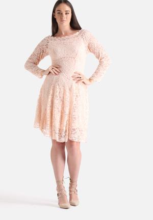 Lili London Plus Size Bardot Lace Dress Occasion Nude & Pink