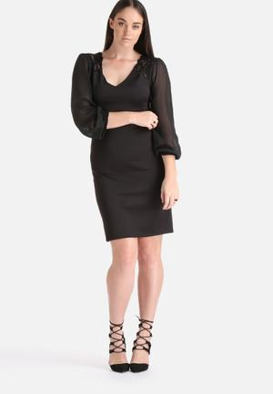 Lili London Pkus Size Lace Shoulder & Cuff Detail Dress Formal Black