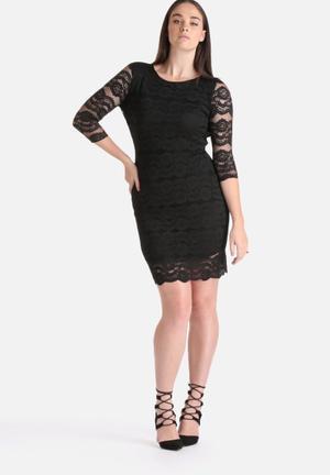 Lili London Plus Size Bodycon Open Back Lace Dress Occasion Black