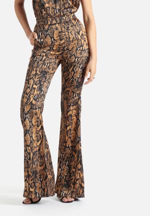 Lavish Alice Snakeskin Print Flare Pants Trousers Brown