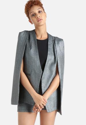 Lavish Alice Stripe Collarless Cape Jackets  Silver, Metallic & Black