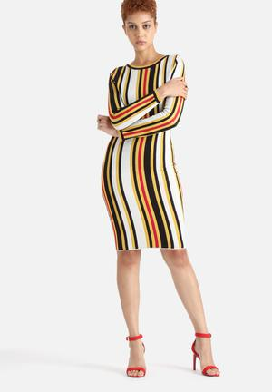 Lavish Alice Knit Midi Dress Formal White, Black, Yellow, Red