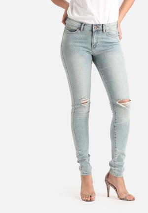 Vero Moda Seven Super Slim Knee Distressed Jeans Light Blue