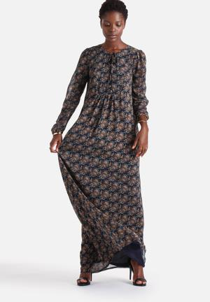 ONLY Bike Lace Front Maxi Dress Casual Navy With Multi Coloured Paisley
