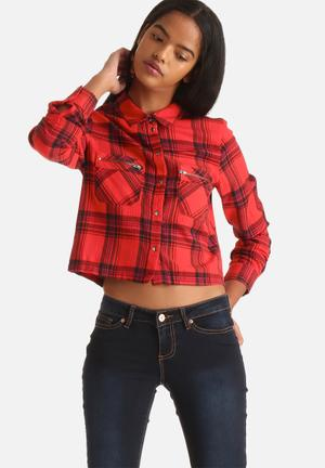 Noisy May Erik Check Zip Shirt Red & Black