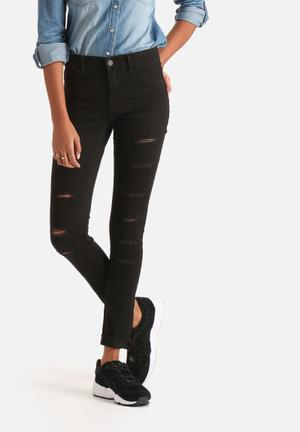 Noisy May Devils Ripped Jeggings Jeans Black