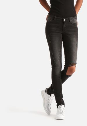 Noisy May Eve Super Slim Destroyed Jeans Dark Grey