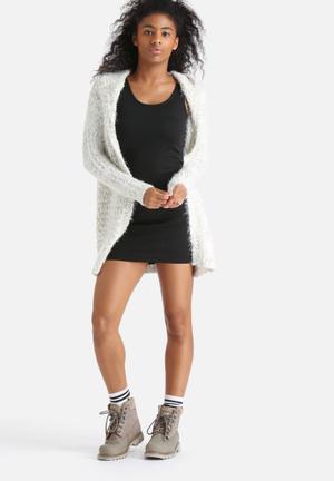 Noisy May Viggo Hooded Cardigan Knitwear Cream