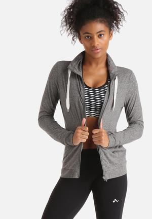 ONLY Play Limit High Neck Knit Zip Thru Sweat Hoodies & Jackets Grey