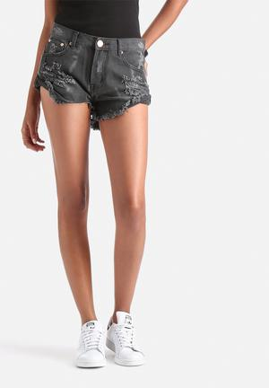 Glamorous Denim Shorts Dark Charcoal