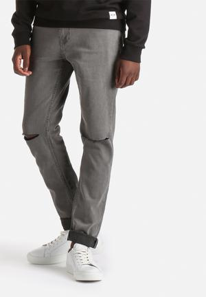 Only & Sons Loom Slim Knee Cut Jeans Grey