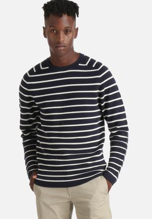 Jack & Jones CORE Stripe Knit Crew Knitwear Navy Blazer