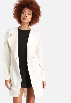 Noisy May Tria Trench Coat White