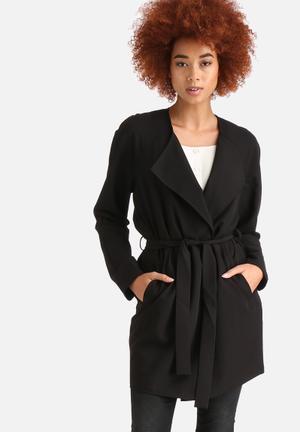 Noisy May Tria Trench Coat Black