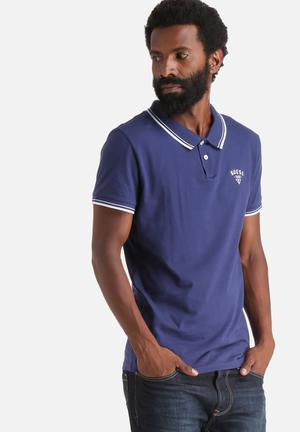 GUESS Branded Tipped Polo T-Shirts & Vests Navy