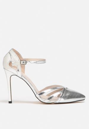 Sissy Boy Metallic Ankle Strap Heels Silver