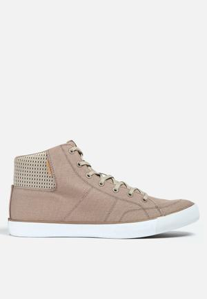 Jack & Jones Footwear & Accessories Deeside Canvas High Top Sneaker Taupe & White