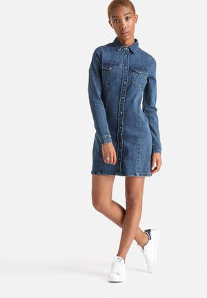 ADPT. Baker Denim Dress Casual Medium Blue