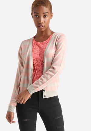 ONLY Miabella Cardigan Knitwear Pink & Beige