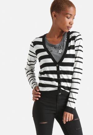 ONLY Miabella Cardigan Knitwear Black & White