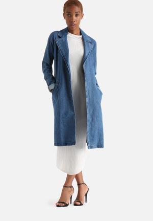 Vero Moda Mona Denim Trench Coat Medium Blue