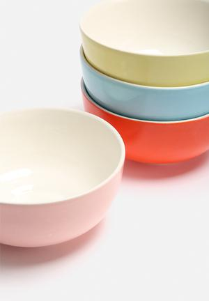 Urchin Art Set Of 4 Colour Block Bowls Dining & Napery Ceramic