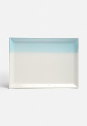 Urchin Art Blue Stripe Platter Dining & Napery Blue