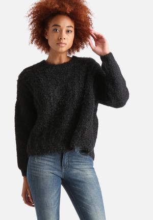 AX Paris Ribbed Knitted Split Back Jumper Knitwear Black