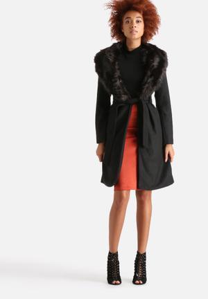 AX Paris Long Tie Belt Faux Fur Collar Coat Black