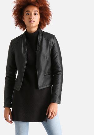 AX Paris Cropped Faux Leather Jacket Black