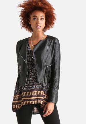 AX Paris CroppedFaux  Leather Tassel Jacket Black