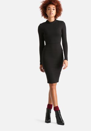 AX Paris Long Sleeved Textured Bodycon Dress Formal Black