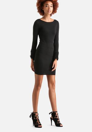 AX Paris Tassled Cuff Bodycon Dress Formal Black
