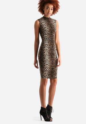 AX Paris Ruched Leopard Print Dress Formal Brown Leopard