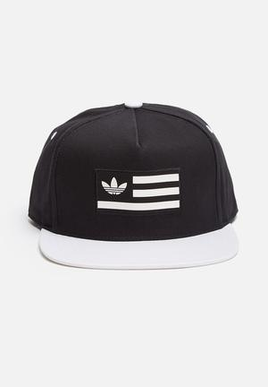 Adidas Originals Snapback Flatbrim Cap Headwear Black / White